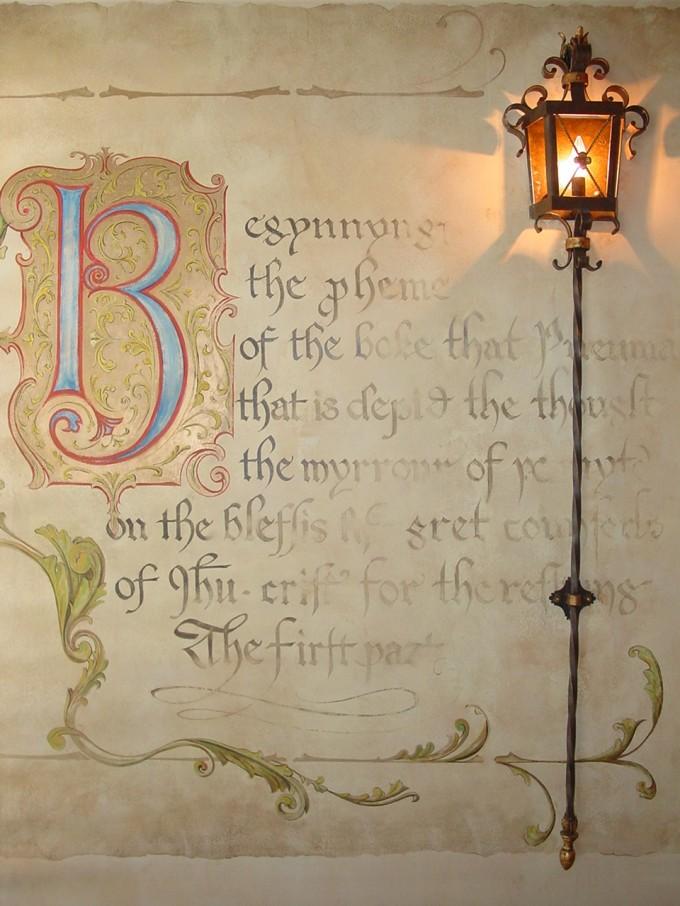 Medieval manuscript mural